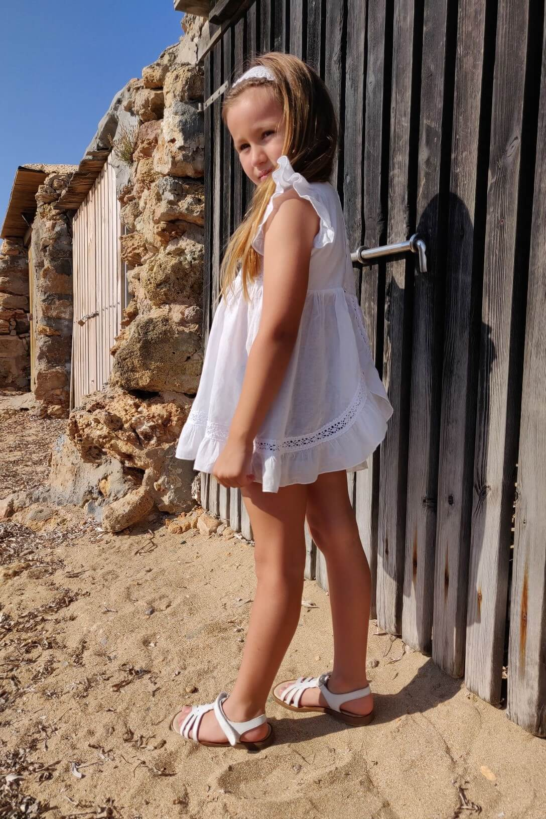 Vestido ibicenco blanco nina Noa